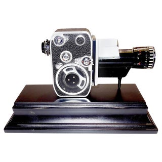 Bolex Circa Mid-Century Complete 8mm Movie Camera Mounted as Sculpture
