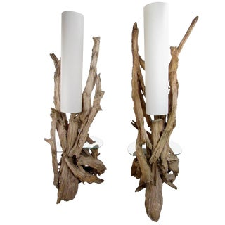 Vintage Driftwood Floor Lamps with Glass End Tables - A Pair