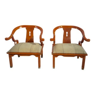 Asian-Style Mandarin Lacquered Chairs - Pair