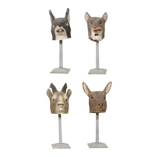 Collection of European Folk Art Animal Masks on Custom Stands
