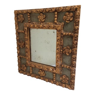 Antique Peruvian Carved Green & Gold Mirror