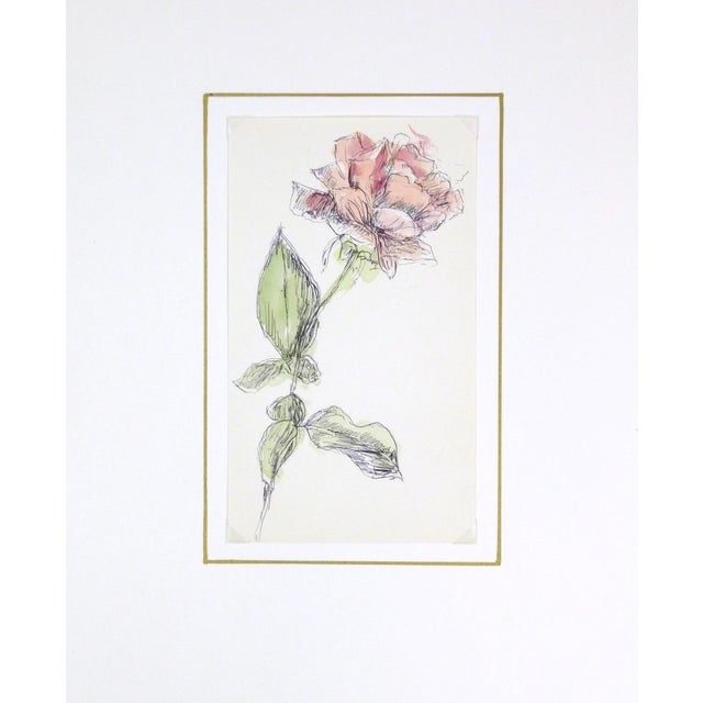 Vintage Watercolor Painting, Rose Stem - Image 3 of 3