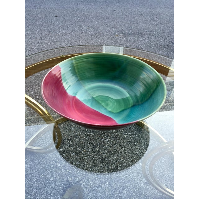 Large Jewel-Tone Glazed Bowl - Image 5 of 5