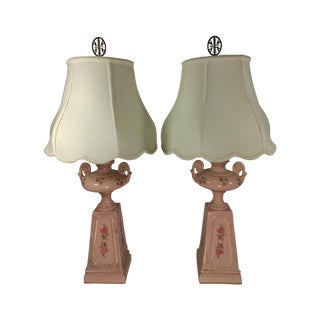 Mid Century Pink Floral & Gold Table Lamps - Pair