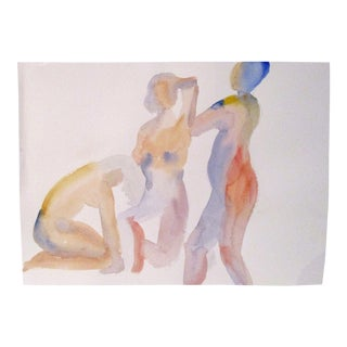 """Three Women"" Impressionist Watercolour and Pencil on Paper Study"