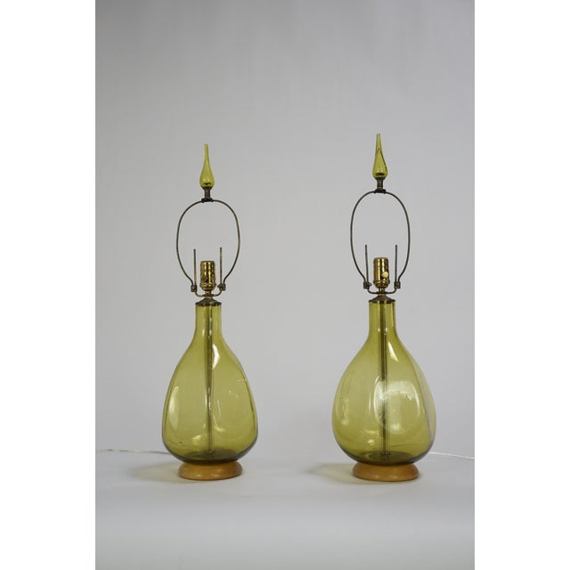 Pair of Green Blenko Glass Lamps with Matching Finials - Image 2 of 8