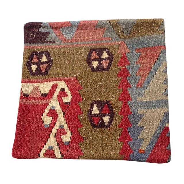 Vintage Red & Brown Kilim Pillow - Image 1 of 5