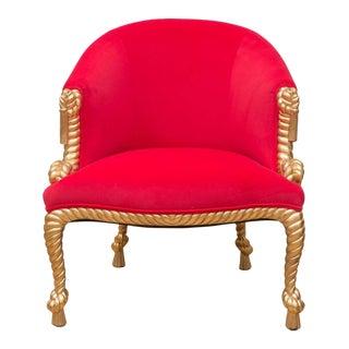 Italian Gilt Tassel Hot Pink Chair