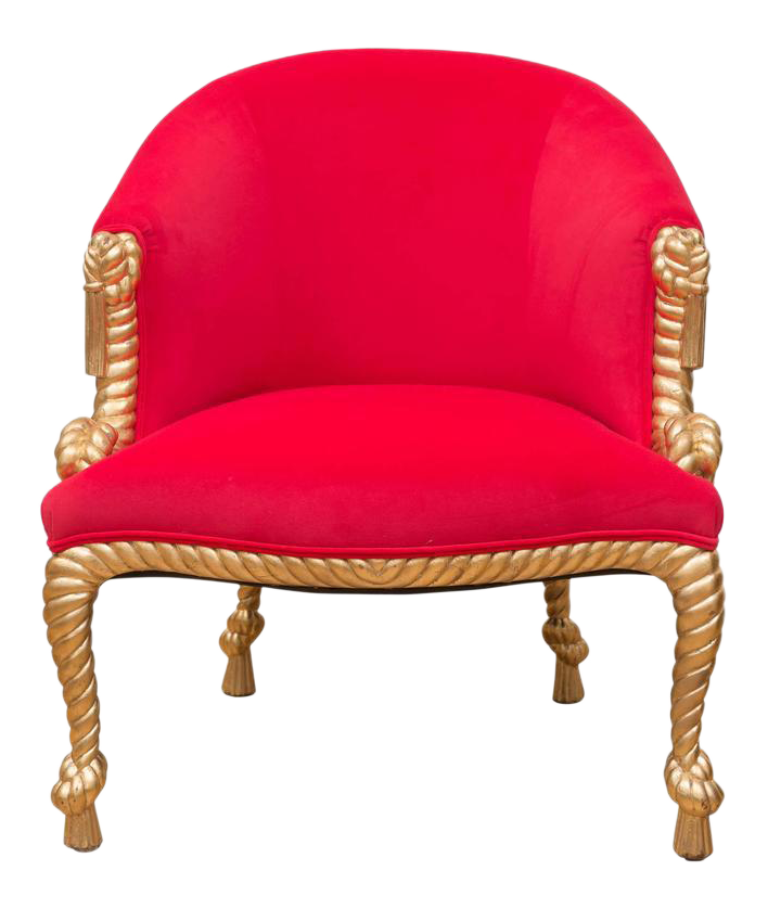 italian gilt tassel hot pink chair