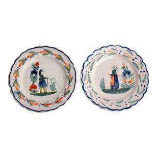 French Pie Crust Quimper Plates - A Pair