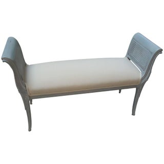 French Caned & Upholstered Window Bench