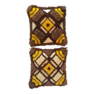 Vintage Shaggy Latch Hook Pillows - A Pair