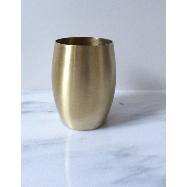 Image of Midcentury Brass Brushed Finish Vase