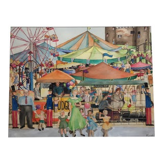 """Mid-Century Mary M. Kennedy """"Carnival '49"""" Painting"""