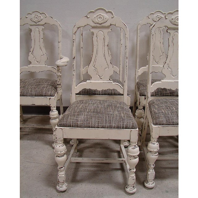 Shabby Chic White Distressed Dining Chairs - S/6 - Image 3 of 5