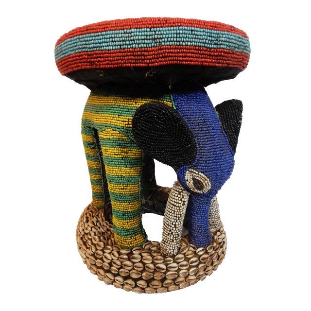 African Beaded Bamileke Elephant Stool - Image 1 of 10