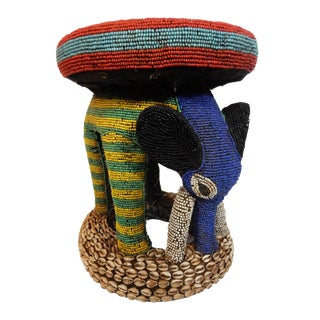 African Beaded Bamileke Elephant Stool