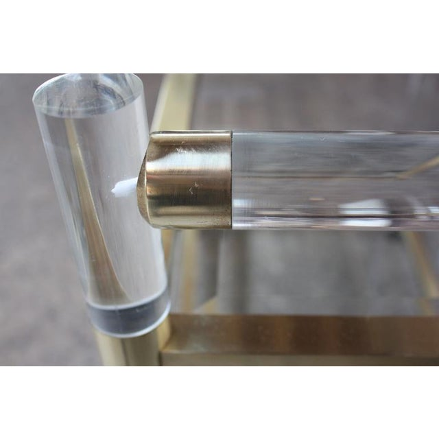 Charles Hollis Jones Lucite Faux-Bamboo and Brass Serving Cart - Image 7 of 11