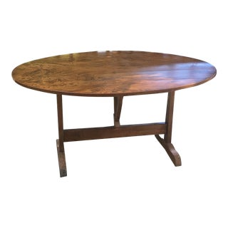 Antique French Chestnut Wine Tasting Tilt-Top Table