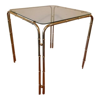 Hollywood Regency Brass Side Table