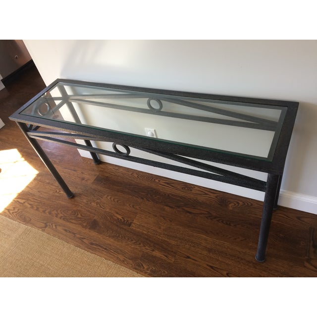 Black iron glass top console table chairish for Table th width ignored