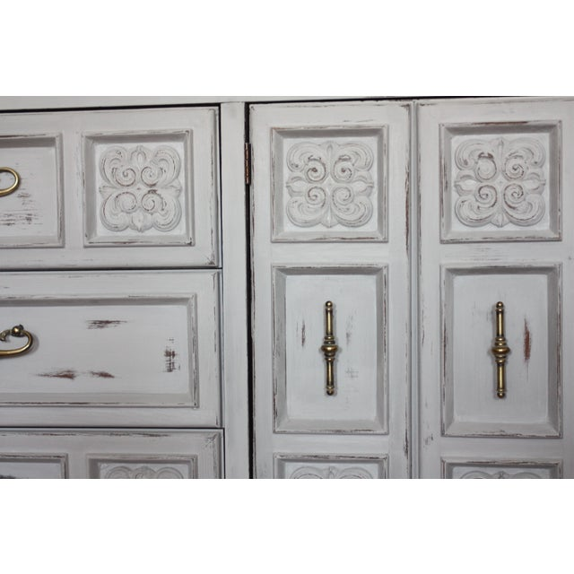 Carved Wood Detailed Gray Dresser - Image 9 of 11