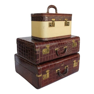 Set Of 3 Vintage Leather Suitcases