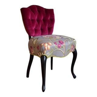 Tufted Pink Velvet & Linen French Shield-Back Accent Chair