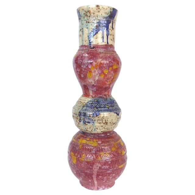 Red & Blue Glazed Ceramic Vase by Gary Fonseca - Image 1 of 8