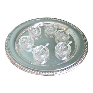 Salt Cellars & Sterling Silver Spoons with Tray - Set of 7
