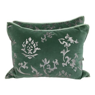 Silver Stenciled Green Velvet Pillows - A Pair