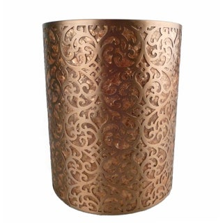Decorative Capiz Shell & Metal Wastebasket