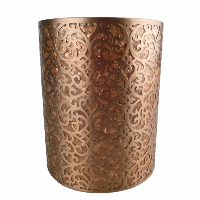 Decorative Capiz Shell Amp Metal Wastebasket Chairish