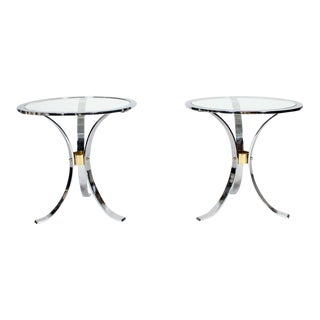 Pair of Midcentury Round Glass Inset Tables in the Manner of Maison Jansen