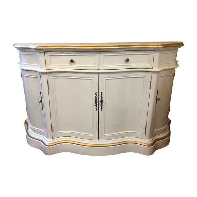 Vintage Cream and Gold Lacquered Buffet - Image 1 of 8