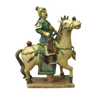 Chinese Vintage Handmade Ceramic Warrior On Horse Figure