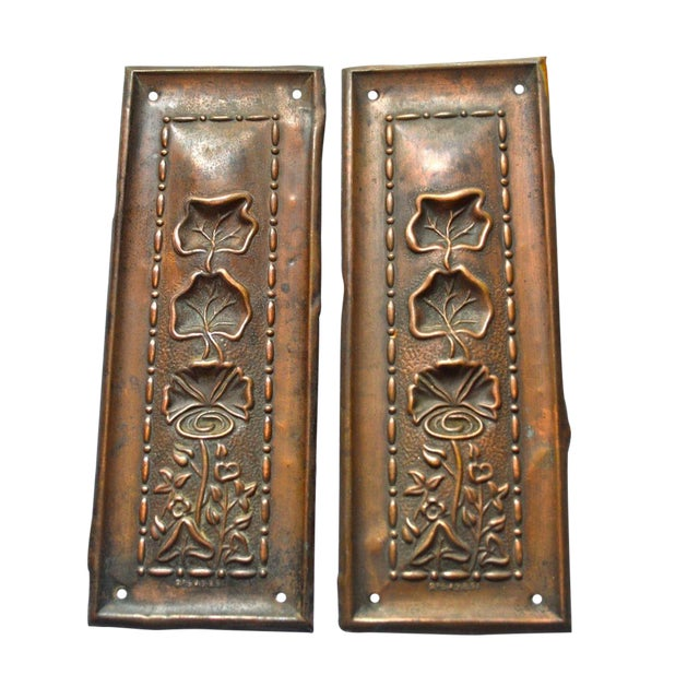 1910 Art Nouveau Copper Lotus Door Push Plates - Image 1 of 9