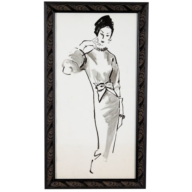 Mid-Century Fashion Ink Drawing - Image 1 of 5
