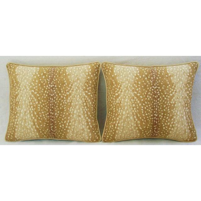 Antelope Fawn Spot Velvet Pillows- a Pair - Image 2 of 10