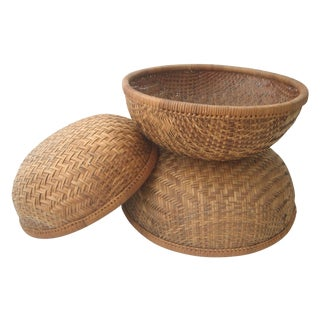 Stacking Hand Woven Round Storage Baskets - S/3