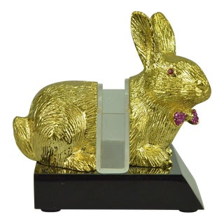 24k Gold Plated Easter Bunny Card Holder Sculpture