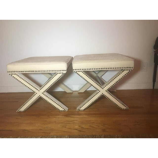 Linen Nailhead X-Bench Ottoman - a Pair - Image 8 of 8