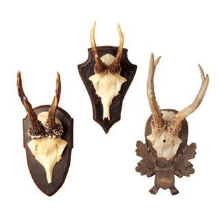Antique Inspired Antlers on Plaques - Set of 3