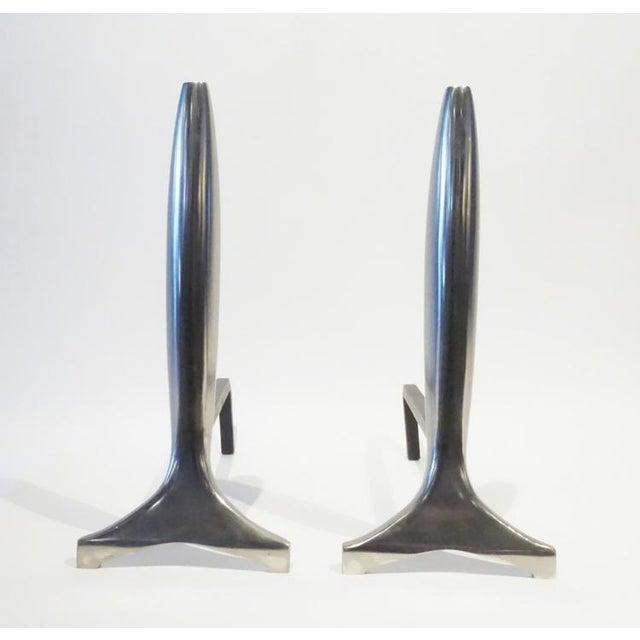 Modernist Aluminum Andirons - A Pair - Image 2 of 5