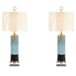 Beautiful Pair of Drip Glaze Ceramic Lamps with Lucite and Brass Accents