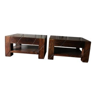 Asian Style Bedside Tables - A Pair