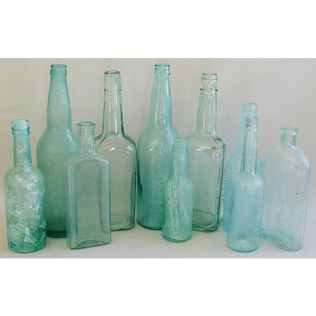 Antique Teal & Blue Glass Bottles - Set of 10 - Image 2 of 8