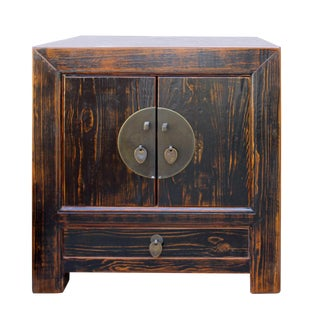 Distressed Rustic Brown Moon Face End Table Nightstand