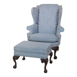 Fairington Chippendale Mahogany Wing Chair & Matching Ottoman