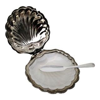 Vintage Sea Shell Caviar Dish, Butter Dish & Spreader - S/3